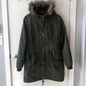 Anthropology Numph Long Army Green Jacket w hood